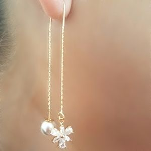 Jewelry - 🚫SOLD🚫Long Chain Drop Pearl Zirconia Earrings